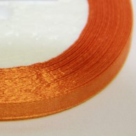 Лента атласная  однотонная морковный, 6мм,  1м.