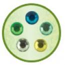Клеевые камушки, цвет желто-зелёный ассорти,  50 шт