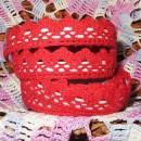 Кружево хлопковое на клеевой основе, цвет красный, 2 м