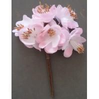 Декоративный букет. Ткан. цветочки (6 бутонов, диа - 4см каждый) выс - 12,5см (бледно-роз, белый)