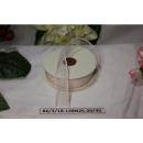 Декоративная лента Белая с розовым краем, 25мм, 1м