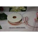 Декоративная лента Белая с красным краем, 25мм, 1м