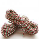 Шпагат для рукоделия и упаковки, Bakers twine, трехцветный кр. зел. бел., 3 м.