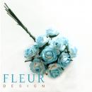 Мини-розочки Белые с голубым напылением, размер цветка 1 см, 10 шт/упаковка