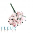 Мини-розочки Белые с розовым напылением, размер цветка 1 см, 10 шт/упаковка