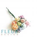 Мини-розочки микс Пастельных оттенков, размер цветка 1 см, 10 шт/упаковка
