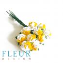 Мини-розочки Белые с желтым, размер цветка 1 см, 10 шт/упаковка