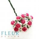 Мини-розочки Ярко-Розовые с белым, размер цветка 1 см, 10 шт/упаковка