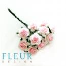 Мини-розочки Белые с розовой серединкой, размер цветка 1 см, 10 шт/упаковка