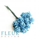 Мини-розочки Бирюзовые, размер цветка 1 см, 10 шт/упаковка