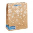 Пакет крафтовый вертикальный «Волшебные снежинки», 18 × 23 × 8 см (средний)
