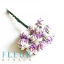 Мини-розочки Белые с сиреневым напылением, размер цветка 1 см, 10 шт/упаковка