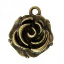 Металлическая подвеска Бутон розы, медь 14*18мм