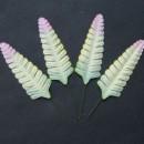 Набор бумажных листьев папоротника, цвет - зеленый/желтый/розовый, 10 шт