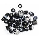 Бусины стеклянные, 6-18 мм, упаковка 40 г., цвет черный