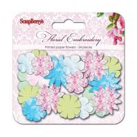 Набор принтованных бумажных цветочков 25мм, 30мм, 38мм Цветочная вышивка, 24шт