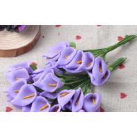 Набор цветочков, каллы, цвет фиолетовый, 12шт