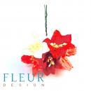 Цветы Лилии микс красно-розовых оттенков, размер цветка 3.75 см, 5 шт