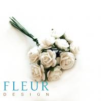 Мини-розочки Белые, размер цветка 1 см, 10 шт/упаковка