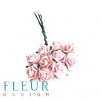 Мини-розочки Нежно-розовые, размер цветка 1 см, 10 шт/упаковка