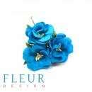Цветы Дикие розы, цвет Бирюза, размер цветка 4,5 см, 10 шт/упаковка