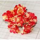 Бумажный цветок 'Хризантема' с глиттером, цвет - желтый/оранжевый, 2,5 см, 1 связка 6 цветов
