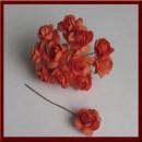 Бумажный цветок 'Роза Дикая', цвет - коралловый, 6 шт