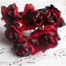 Бумажный цветок 'Роза' с глиттером, цвет - красный/темно-бордовый, 1 связка 6 цветов