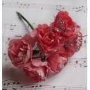 Бумажный цветок 'Роза' с глиттером, цвет - нежно-розовый, 1 связка 6 цветов