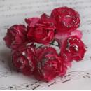 Бумажный цветок 'Роза' с глиттером, цвет - розовый/белый, 1 связка 6 цветов