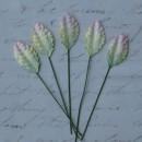 Набор бумажных листьев розы, цвет - 2-тоновый зеленый/розовый, 35 мм, 10 шт