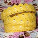 Кружево хлопковое на клеевой основе, цвет желтый,  2 м