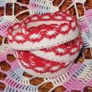 Кружево хлопковое на клеевой основе, цвет - бело-красный, 2 м