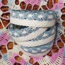 Кружево хлопковое на клеевой основе, цвет белый/темно-голубой, 2 м