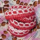 Кружево хлопковое на клеевой основе, цвет красно-белый, 2 м